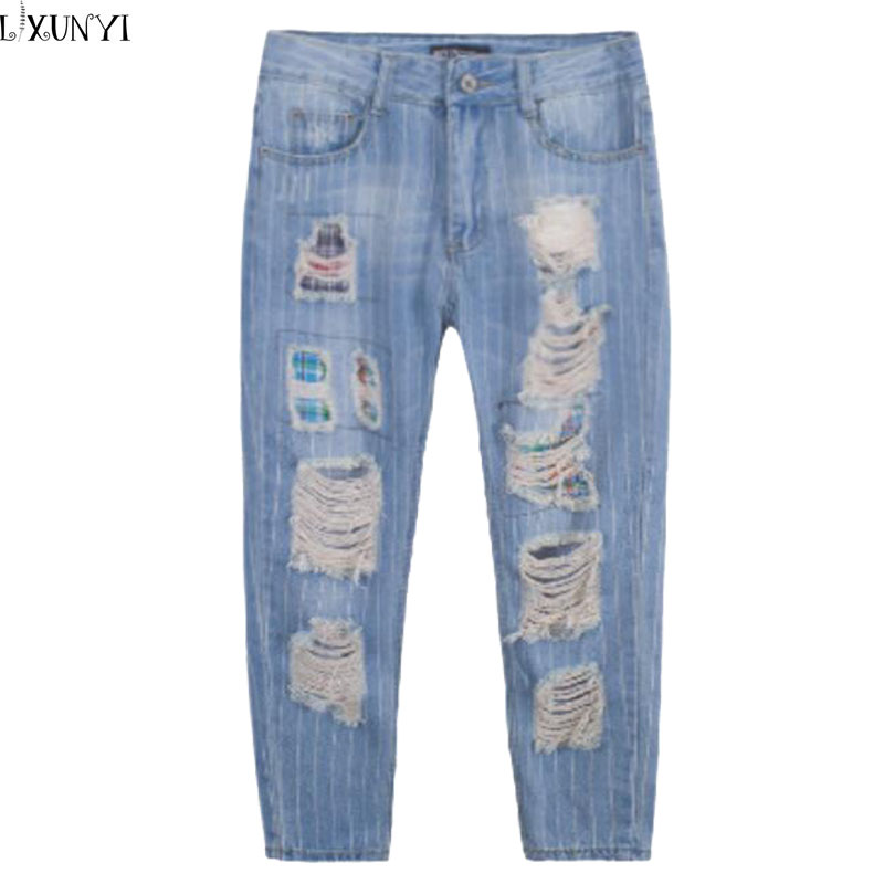 New Summer Hole Jeans Woman Big Size Korean Personality Patch Nine Points Pants High Waist Striped Ripper Jeans For Women 32-42Одежда и ак�е��уары<br><br><br>Aliexpress