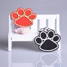 1PC Black Dog Paw Prints Cartoon logo Embroidered Cloth DIY Iron on Patch Applique  DIY cloth Accessory Santa Claus