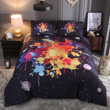 Home textiles, watercolor, splash ink, personalized notes, star kit, printing,bed set 3pcs direct sale(China)