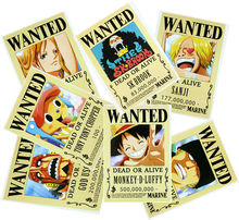 9 pcs/set (42x29cm)New 2017 Anime One Piece  Wanted Poster Anime One Piece Zoro Poster Wall Sticker Free Shipping