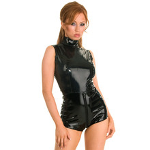 Buy Latex PVC open crotch bodysuit catwoman Faux Leather Catsuit wetlook clubwear Fetish Lingerie body Sexy hot Erotic Club costumes