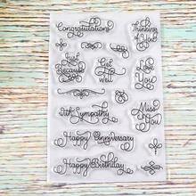 Words Phrase Greeting stamp TPR silicon clear Stamp rubber seal for DIY Scrapbooking/Card Making/ Decoration Supplies(China)