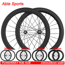 road carbon wheels chinese bicycle high quality wheelset 38 50mm 60 88mm powerway r36 carbon fiber hub hot sale tubular clincher