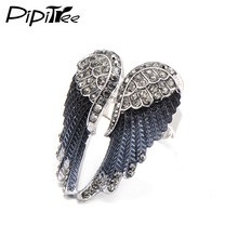 Pipitree 2017 Fashion Angel Wings Ring Punk Biker Jewelry 11 Colors Antique Gold Color Vintage Rhinestone Rings for Men Women