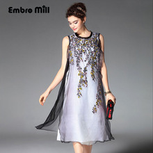 Women beautiful dresses summer  Chinese style vintage royal embroidery floral sleeveless elegant organza silk party dress M-XXL