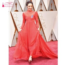 89th Annual Academy Awards Ruth Negga Red Lace Celebrity Dresses Chiffon Royal High Neck Long Sleeve Red Carpet Dresses Cheap