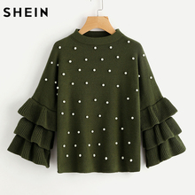 SHEIN Green Pearl Beading Tiered Ruffle Sleeve Jumper Autumn Womens Crew Neck Long Sleeve Loose Pullovers Sweater(China)