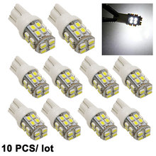 10pcs T10 1210 20SMD 20 Led white Car Wedge Light 20 Smd 3528 W5W 194 168 Auto License Plate Clearance Lamp Reading Bulb DC 12v
