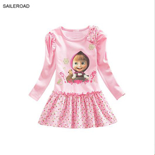 3 To 7T  Masha New Spring Children KIds Girls Dress Baby Girls Long Sleeve Party Dresses Girls Vestido For Cotton SAILEROAD
