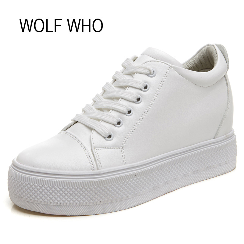 WOLF WHO High Top Leather Hidden Heels Creeper Platform Sneakers Women Shoes White Tenis Feminino Casual Basket Femme H-137<br>