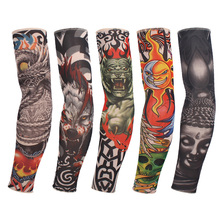 1 Pc Color Random New Fake Tattoo Elastic Arm Sleeve Arm Stockings Sport Skins Sun Protective For Cool Men & Women(China)