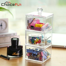 CHOICE FUN Hot Selling 3 Tiers Square Office Accessories Clear Acrylic Document Storage Container Desk High Quality Box SF-1183(China)
