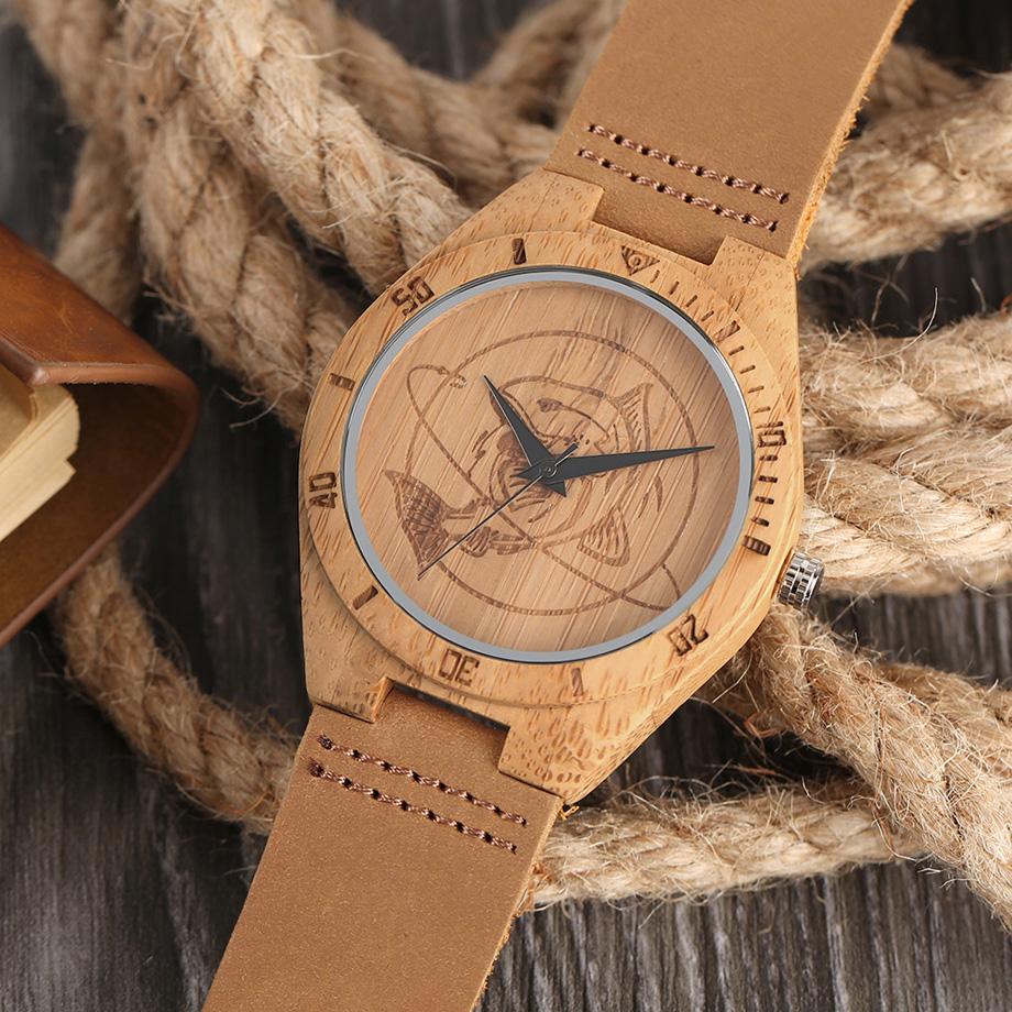 ด้านบนไม้นาฬิกาบุรุษมือcraftedฉลามสีน้ำตาลแบบDialปรับกีฬานาฬิกาควอทซ์หนังแท้ขาหัว 9