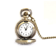 Vintage Small Size Lotus Hollow Quartz Pocket Watch Necklace for Women Men 88 LXH