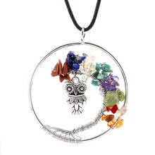 unsex Fashion National wind color natural stone crystal owl necklace hanging Life Tree Pendant Long sweater chain necklace