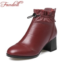 FACNDINLL cheap quality autumn shoes woman ankle boots handmade full leather snow boots high heels black shoes lady riding boots(China)