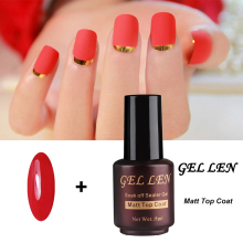 Gel Len Red Color Nail Gel Polish with Clear Matt Matte Top Coat UV Varnish LED Matt Top Gel Soak off Gel Lacquer