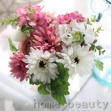 1 Bouquet Vivid Gerbera Fake Leaf Colorful Artificial Silk Flowers Bridal Decor Fall Wedding Home Party Decoration FH304