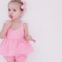 2 PCs Summer Kids Girl Cloth Sets Baby Girl Striped Pink Tops Dress+Shorts Pants Outfits Set