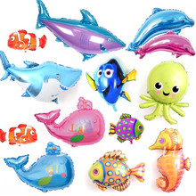 Ocean Fish Big Octopus Shark Dolphin Fish Foil Balloons Animal Pet Party Kids Birthday Party Decoration inflatable Helium Ballon