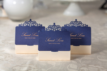 10pcs Fine Hollow Dark Blue Classic Wedding Candy Bag Chocolate Gift Box
