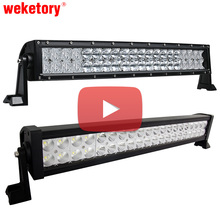 weketory Video Shopping 22 inch 5D Curved Straight LED Work Light Bar for Tractor Boat OffRoad 4WD 4x4 Truck SUV ATV 12V 24v(China)