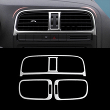 Car Styling Stainless Steel 4pcs/set Interior Air conditioning panel Decorative sequins For VW POLO 2014-2016 Accessory Sequins(China)