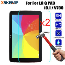 XSKEMP 2Pcs/Lot 9H Hard Premium Tempered Glass For LG G PAD 10.1 / V700 2.5D Arc Edge Tablet PC Screen Protector Protective Film