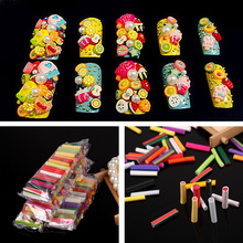 200Pcs Orange Sticker Fimo Nail Art Sticks Rods Gel Decals Mixed Fruit Flower Pattern DIY Manicure Cosmetic Nail Art Decorations