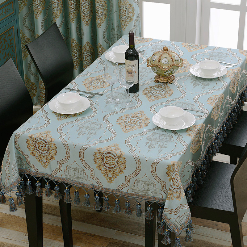 Europe Luxury Embroidery Round Tablecloth Jacquard Floral Table Cloth Beautiful Edging Tassels Square,Adornment toalha de mesa(China (Mainland))