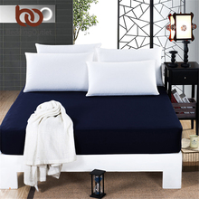 BeddingOutlet Mattress Cover Fitted Sheet Bedding Bed Sheet Bedding Solid Color Navy Blue Mattress Protector Cotton 3 Size(China)
