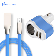 ELIANT Micro usb cable + Car Charger Cigarette Lighter Car Charger Adapter 3.1A Dual Port USB Smart Mobile Phone Charging cables