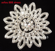 free shipping 1pc 11.5cm round trims stunning clear rhinestone applique big flower wedding dress hat bra bag costume sewing