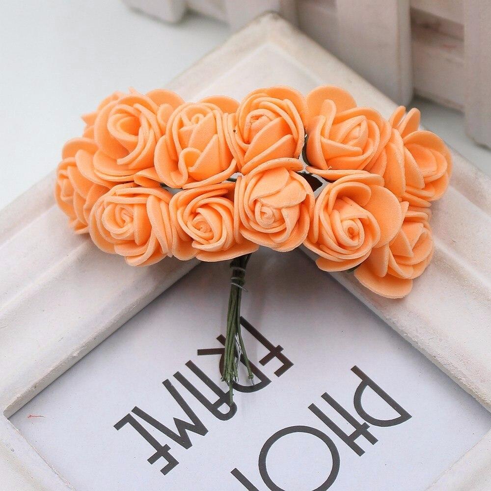 12pcs/lot New Hot 2cm Head Multicolor PE Foam Mini Flower Artificial Rose Flowers Bouquet wedding decorative flowers wreaths 19