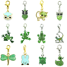 JINGLANG Mix Sale Fashion Lobster Clasp Charms Green Rhinestone Enamel Animal Pendants DIY For Jewelry Making Accessories(China)