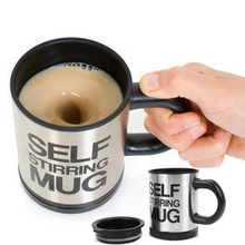 Free shippping Automatic coffee mixing cup/mug bluw stainless steel self stirring electic coffee mug 350ml(China)