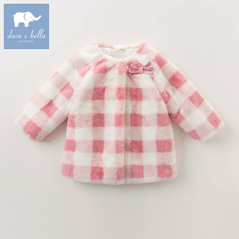 DB5956 dave bella winter infant baby girls fashion jacket children lovely plaid coat kids high quality outerwear<br>