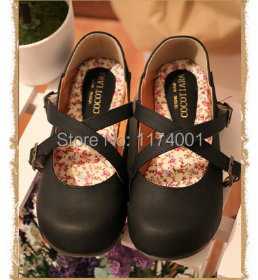 2014 new Japanese students doll shoes buckle cute round single flat womens flats<br><br>Aliexpress