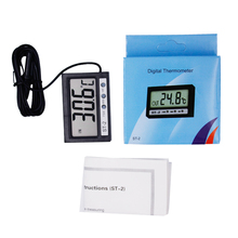 Indoor Convenient Temperature sensor probe in Out LCD Dual-Way Digital Thermometer & Clock thin shell portable temp tester