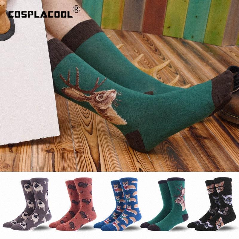 Underwear & Sleepwears cosplacool abstract Animal Novelty Socks Men Cotton Happy Funny Socks Dress Colorful Wedding Socks Clacetines Hombre Divertidos