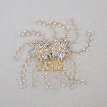 Handmade Bridal Headdress Crystal Jewelry Hair Vine Large Women Bead Hair Comb Hairpin White Pearl Hair Accessories For Weddings