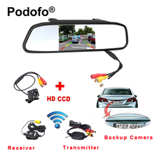 "Podofo Wireless 4.3"" TFT Rearview Mirror Car Rear View Camera HD Video Parking LED Night Vision CCD Backup Reverse Camera System"