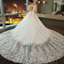 Buy Vestido de Noiva Elegant Korean Ball Gown Wedding Dresses Court Train Open Back Bride Dress Lace 2018 Wedding Gowns Half Sleeve for $196.00 in AliExpress store