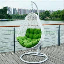 White rattan hanging chair outdoor with cushions supplier(China)