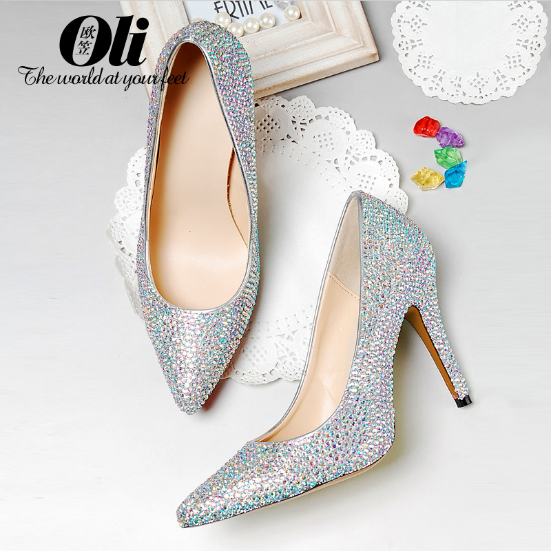 Plus size shoes high-heeled shoes Large womens pointed toe shoes genuine leather bridal shoes diamond crystal shoes ball<br><br>Aliexpress