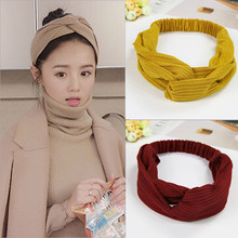 Korean style cotton women knot elastic turban headbands hair head bands hairbands accessories for women girls scrunchy headband(China)