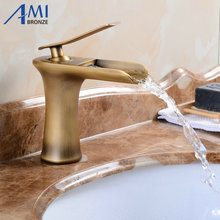 Amibronz Waterfall Basin Faucet Brass Mixer Hot Cold Mixer Basin Tap Chrome/Black/Antique Bathroom Faucets 8882S(China)