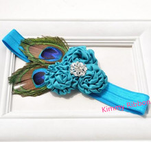 50pcs/lot Turquoise Blue Purple Ostrich Feather Rhinestone Headband, Couture Headband, Baby Toddler Girl Woman