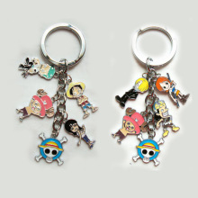 Japanese popular anime ONE PIECE figures model toys keychain pendant Luffy Nami metal keyring cute kawaii toys for kids gift