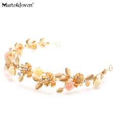 [Marte&Joven] New Coming Bride Headdress Retro Hair Jewelry Gold Leaf Rhinestone Flower Crown Women Wedding Accessories